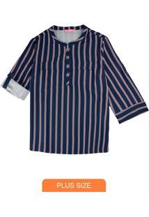 Camisa Azul Marinho Em Crepe Listrada Com Zíper