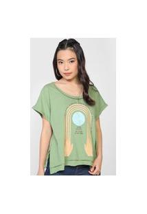 Camiseta Colcci Artística Verde