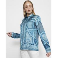 ce2d68c2da Camisa Em Seda Com Arabescos - Azul   Azul Claroversace Collection