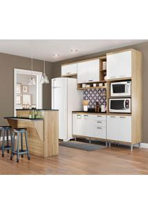 Cozinha Compacta Sicília Com Tampo 11 Portas 3 Gavetas Argila/Branco - Multimóveis