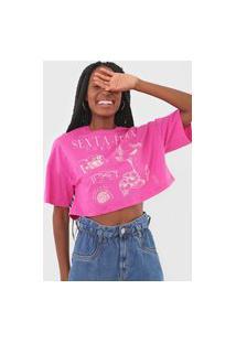 Camiseta Cropped Colcci Sexta-Feira Rosa