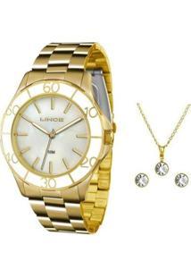 Kit Relógio Feminino Lince Analógico Lrgj067L Ku94 - Unissex-Dourado
