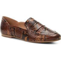 59da17f6a Mocassim Couro Shoestock Loafer Snake Feminino - Feminino-Caramelo