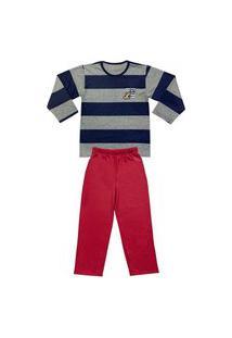 Pijama Juvenil Look Jeans Longo Listrado Azul/Vermelho