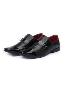 Sapato Social Masculino Verniz Bico Quadrado Conforto Preto