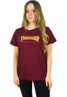 Camiseta Thrasher Magazine Feminina Flame Logo Bordô - Kanui