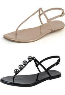 Kit 2 Rasteiras Mercedita Shoes Flat Confortável Dia A Dia - Feminino-Bege+Preto