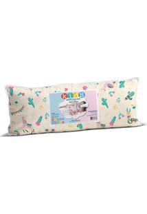Travesseiro Infantil Body Pillow Malha In Cotton 100% Lhama Fun - 30Cm X 65Cm Rosa - Tricae