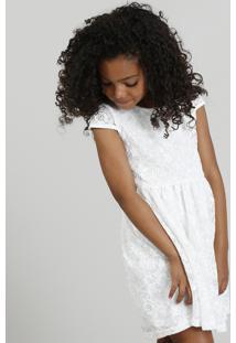 Vestido Infantil Em Renda Com Vazado Branco