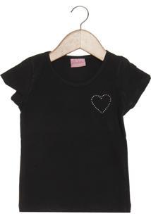 Camiseta Duduka Coração Infantil Preta