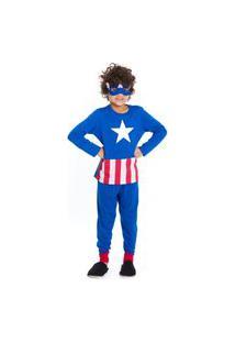 Pijama Infantil Inverno Capitáo América Vingadores Evanilda