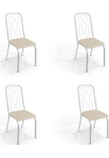 Conjunto Com 4 Cadeiras De Cozinha Viena Cromado E Nude