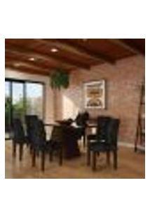 Conjunto De Mesa De Jantar Clara Ii Com Vidro E 6 Cadeiras Grécia Suede Castor E Preto