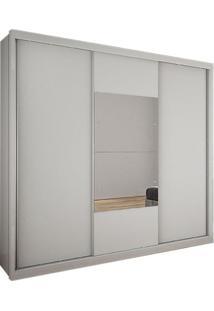 Guarda-Roupa Casal Com Espelho Bipartido Trento 3Pt 3Gv Branco