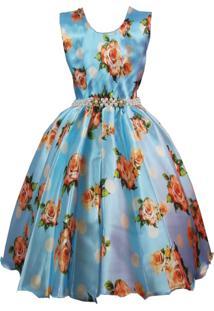 Vestido De Festa Giovanella Infantil Azul Cetim Floral