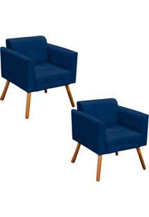 Kit 02 Poltrona Decorativa Elisa Suede Azul Marinho Pés Palito - D'Rossi