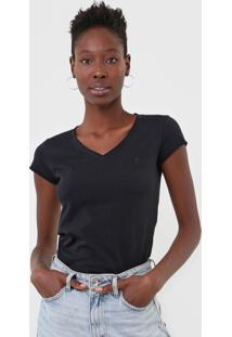 Camiseta Polo Wear Gola V Preta - Preto - Feminino - Algodã£O - Dafiti