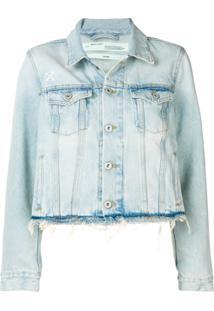 Off-White Jaqueta Jeans Azul Com Franjas