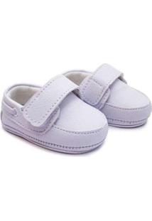 Sapato Bebê Baby Way Velcro Menino - Masculino-Branco