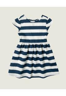 Vestido Godê Listrado Cetim Menina Malwee Kids Azul Marinho - P