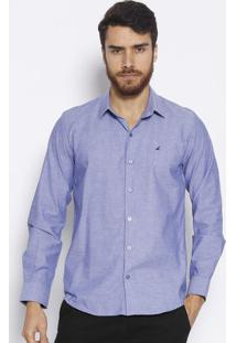 Camisa Slim Fit Com Bordado- Azul- Docthosdocthos