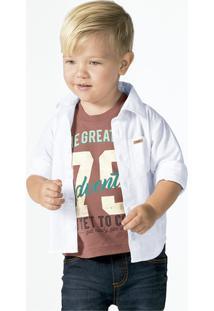 Camisa Bebê Menino Em Tricoline Com Bolso Frontal Puc