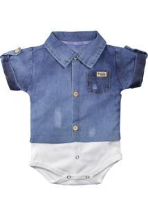 Body Era Uma Vez Camisa De Bebê Manga Curta Jeans Claro Jeans