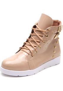 Bota Dafiti Shoes Envernizada Tachas Nude