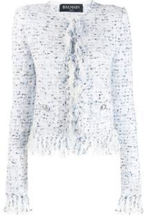 Balmain Jaqueta Xadrez De Tweed Com Franjas - Branco
