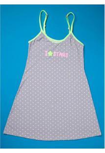 Camisola Infantil Puket Estrelas Flúor Feminina - Feminino-Cinza