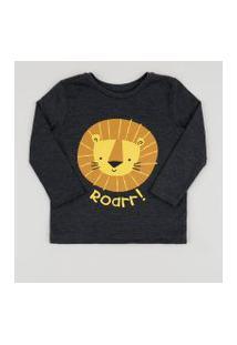 Camiseta Infantil Leãozinho Com Bolso Manga Longa Cinza Mescla Escuro