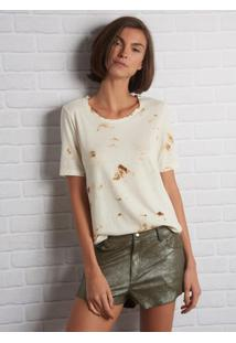 Camiseta John John June Burn Malha Off White Feminina (Shirt June Burn, M)
