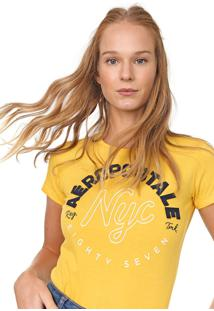 Camiseta Aeropostale Bordada Amarela - Kanui