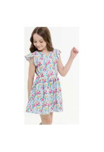 Vestido Infantil Manga Curta Babado Floral Marisa 4 A 10