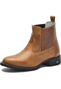Bota Country Over Boots Bico Redondo Couro Caramelo