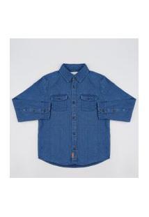 Camisa Infantil Em Piquet Com Bolso Manga Longa Azul Marinho