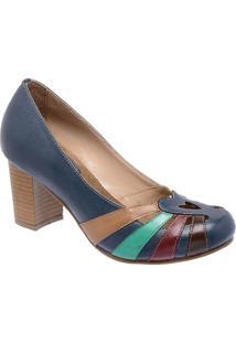 8d17cdb82 Sapato Tradicional Em Couro Com Recortes Vazados - Azul Montelli