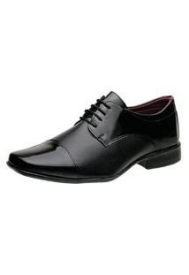 Sapato Social Masculino Liso Verniz Cadarço Leve Conforto Preto 42 Preto