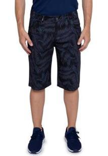 Bermuda Sarja Vizzy Jeans Folhagem Masculina - Masculino-Azul