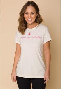 Camiseta Sislla Confia No Instinto Feminina - Feminino-Areia