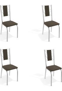 Conjunto Com 4 Cadeiras De Cozinha Lisboa Cromado E Marrom