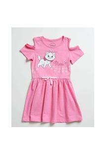 Vestido Infantil Estampa Marie Manga Curta Disney