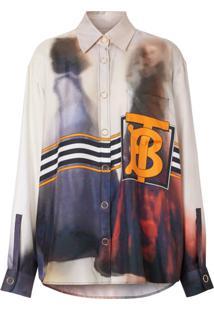 Burberry Camisa Com Estampa Fotográfica Victorian - Roxo