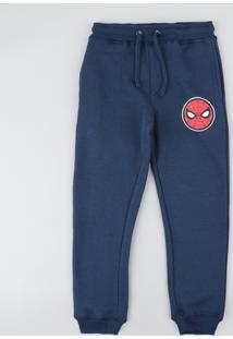 Calça Infantil Homem Aranha Em Moletom Azul Marinho