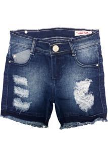 Bermuda Jeans Moletom Miss Doll Azul