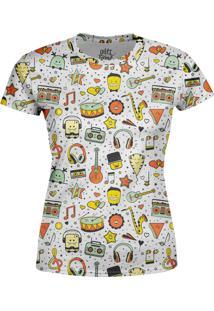 Camiseta Estampada Baby Look Over Fame Branca