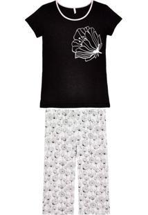 Pijama Plus Size Feminino Jogê Pescador Viscolycra-Preto-Xg