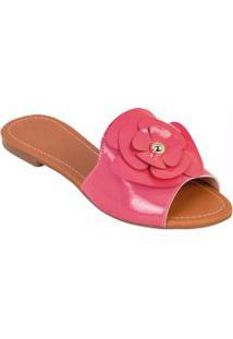 Rasteirinha De Verniz Pink Com Detalhe De Flor