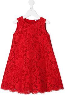 Dolce & Gabbana Kids Vestido Com Bordado De Renda - Vermelho