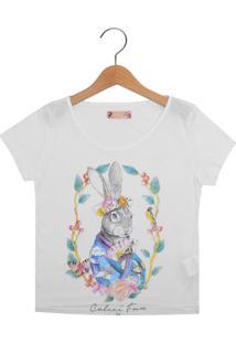 Camiseta Colcci Fun Manga Curta Menina Branco